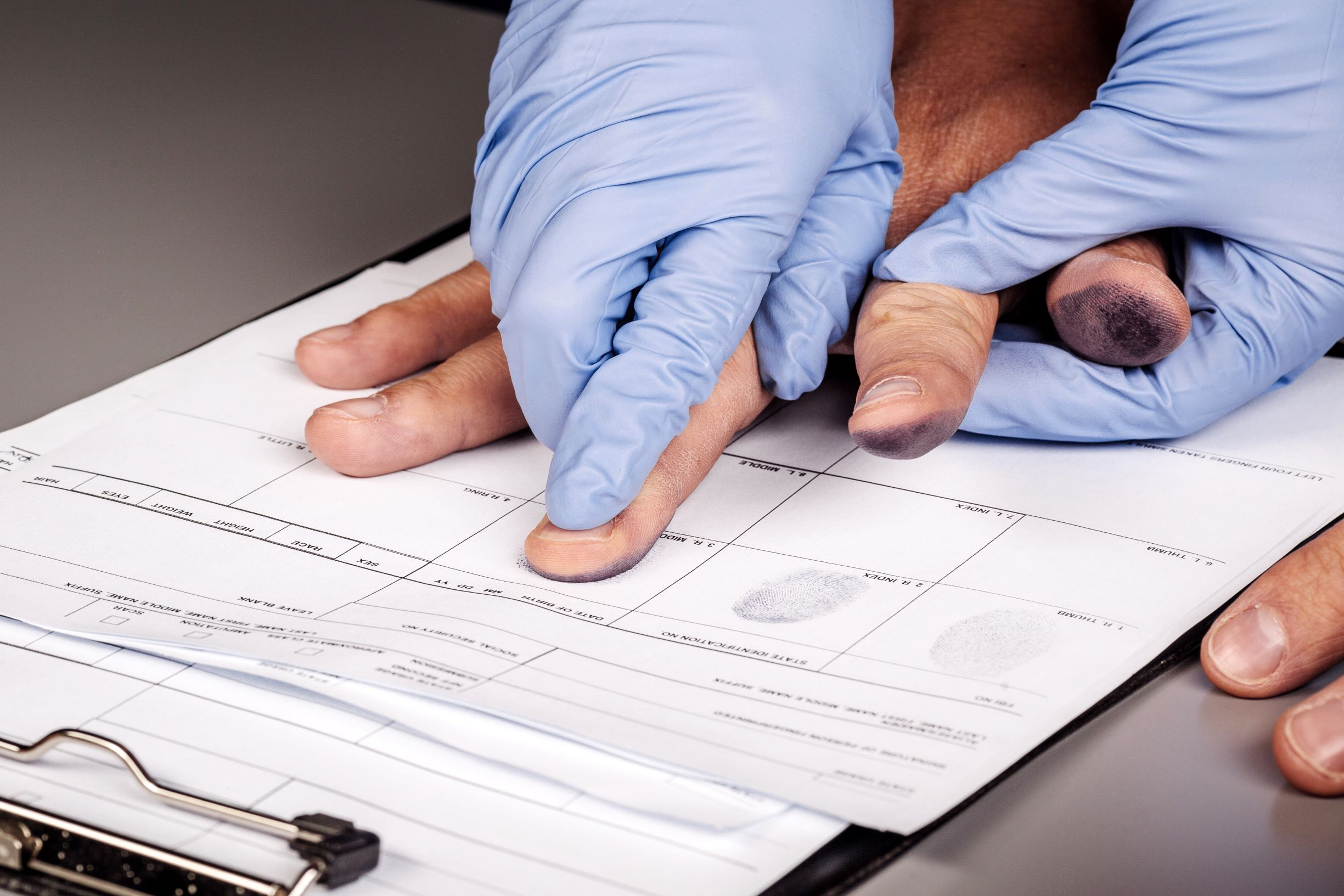 The booking process in Ohio, as in other states, includes having fingerprints taken.